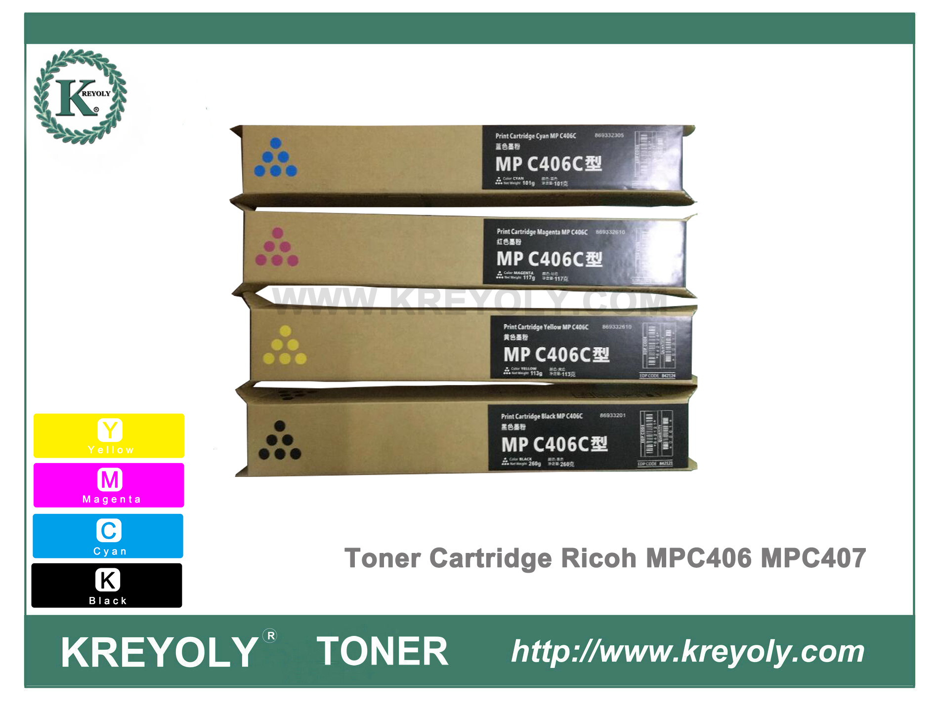 Ricoh Color Toner Cartridge MPC406 MPC407